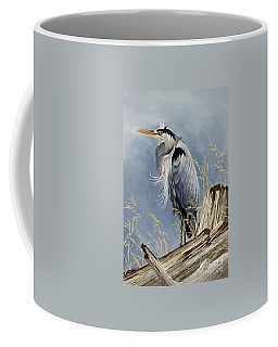 Coffee Mug featuring the painting Herons Windswept Shore by James Williamson