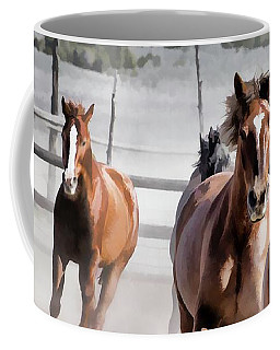 Coffee Mug featuring the digital art Horses Running Into A Dusty Ranch Corral by Nadja Rider