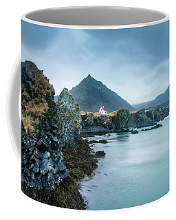 House On Ocean Cliff In Iceland Coffee Mug