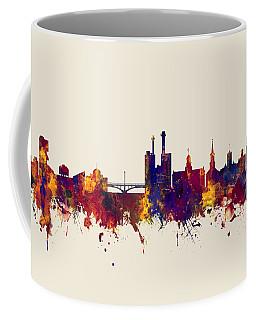 Coffee Mug featuring the digital art Iowa City Iowa Skyline by Michael Tompsett
