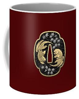 Japanese Katana Tsuba - Twin Gold Fish On Black Steel Over Red Velvet Coffee Mug