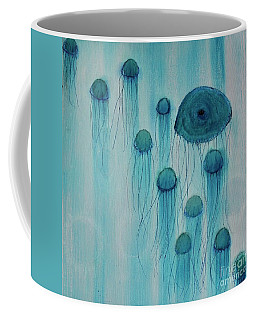 Coffee Mug featuring the painting Jellyfish Ballet by Kim Nelson