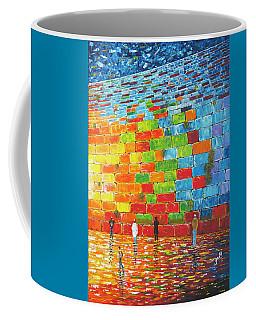 Coffee Mug featuring the painting Jerusalem Wailing Wall Original Acrylic Palette Knife Painting by Georgeta Blanaru