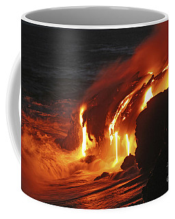 Coffee Mug featuring the photograph Kilauea Lava Flow Sea Entry, Big by Martin Rietze