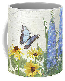 Coffee Mug featuring the painting Le Petit Jardin 1 - Garden Floral W Butterflies, Dragonflies, Daisies And Delphinium by Audrey Jeanne Roberts