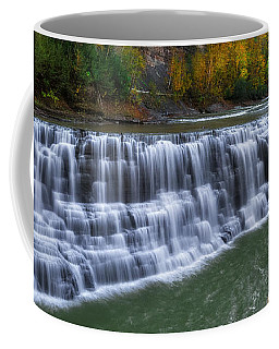 Coffee Mug featuring the photograph Letchworth Lower Falls by Mark Papke
