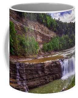 Coffee Mug featuring the photograph Letchworth State Park Lower Falls by Mark Papke