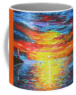 Coffee Mug featuring the painting  Lighthouse Sunset Ocean View Palette Knife Original Painting by Georgeta Blanaru