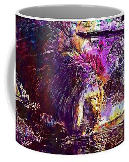 Coffee Mug featuring the digital art Lion Cat Zoo Male Big Cat Africa  by PixBreak Art