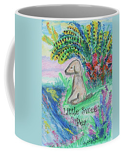 Coffee Mug featuring the painting Little Sweet Pea With Title by Diane Pape