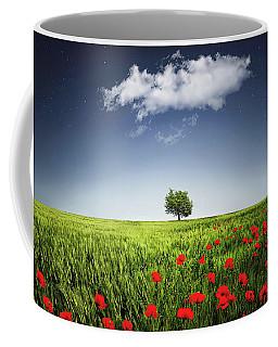 Lone Tree A Poppies Field Coffee Mug by Bess Hamiti