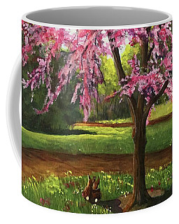 Coffee Mug featuring the painting Love Is In The Air by Nancy Cupp