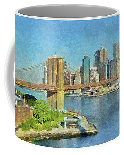 Lower Manhattan And The Brooklyn Bridge Coffee Mug