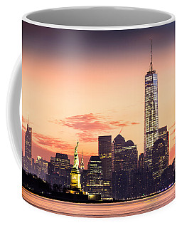 Lower Manhattan And The Statue Of Liberty At Sunrise Coffee Mug by Mihai Andritoiu