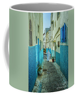 Man In White Djellaba Walking In Medina Of Rabat Coffee Mug