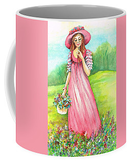 Coffee Mug featuring the painting Meadow Maid by Val Stokes