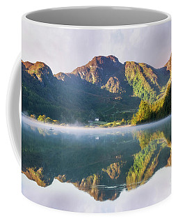 Coffee Mug featuring the photograph Misty Dawn Lake by Ian Mitchell