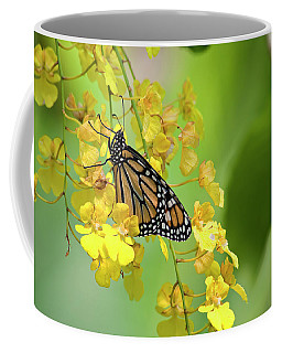 Monarch Butterfly On Yellow Orchids Coffee Mug