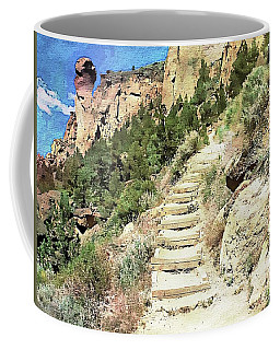 Coffee Mug featuring the digital art Monkey Face Rock - Smith Rock National Park, Oregon by Joseph Hendrix