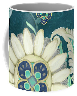 Coffee Mug featuring the painting Moroccan Paisley Peacock Blue 1 by Audrey Jeanne Roberts