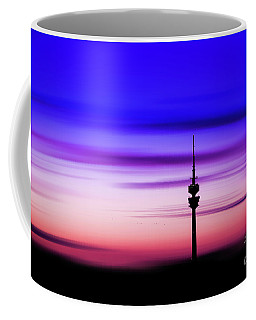 Coffee Mug featuring the photograph Munich - Olympiaturm At Sunset by Hannes Cmarits