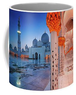 Night View At Sheikh Zayed Grand Mosque, Abu Dhabi, United Arab Emirates Coffee Mug