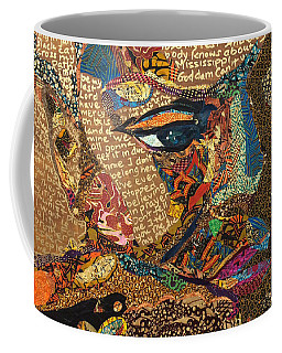 Coffee Mug featuring the tapestry - textile Nina Simone Fragmented- Mississippi Goddamn by Apanaki Temitayo M
