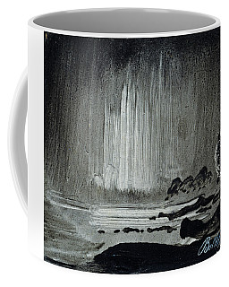 Northern Lights Over Coastal Landscape Coffee Mug