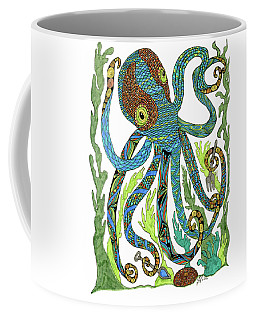 Coffee Mug featuring the drawing Octopus' Garden by Barbara McConoughey