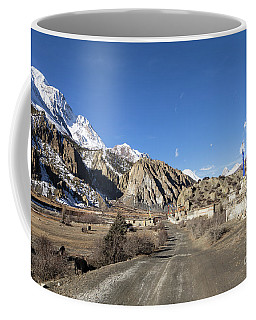 On The Annapurna Circuit Trekking Near Manang In Nepal Coffee Mug