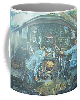 Coffee Mug featuring the painting On The Footplate by Mike Jeffries