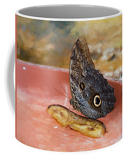 Coffee Mug featuring the photograph Owl Butterfly 2 by Paul Gulliver