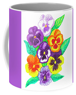 Pansies, Watercolour Painting Coffee Mug by Irina Afonskaya
