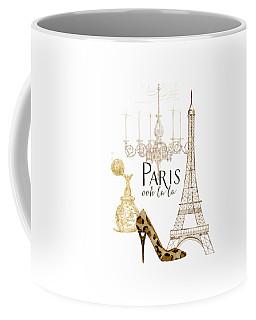 Paris - Ooh La La Fashion Eiffel Tower Chandelier Perfume Bottle Coffee Mug by Audrey Jeanne Roberts