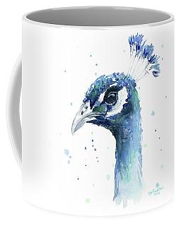Peacock Watercolor Coffee Mug