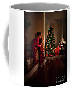 Peeking At Santa Coffee Mug by Diane Diederich