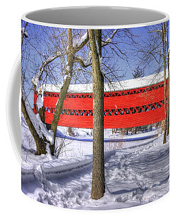 Pennsylvania Country Roads - Sachs Covered Bridge Over Marsh Creek - Adams County Winter Coffee Mug by Michael Mazaika