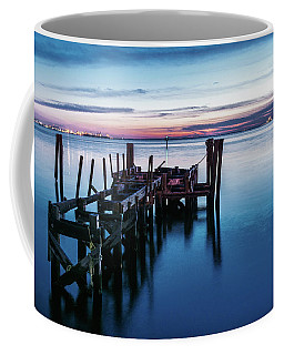 Coffee Mug featuring the photograph Pier Ruins At Chamberlin by Jerry Gammon