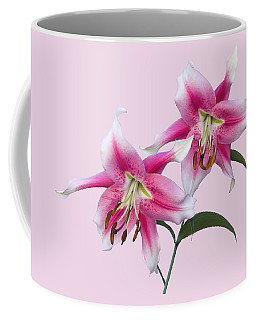 Pink And White Ot Lilies Coffee Mug