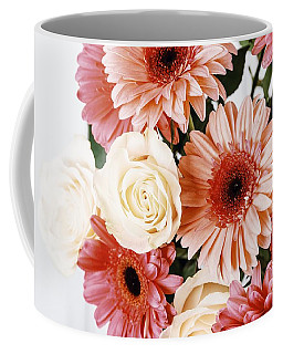 Pink Gerbera Daisy Flowers And White Roses Bouquet Coffee Mug