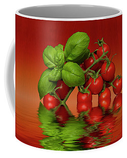 Coffee Mug featuring the photograph Plum Cherry Tomatoes Basil by David French