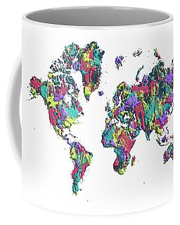 Pop Art World Map - Splashes Coffee Mug