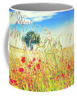 Coffee Mug featuring the photograph Poppies With Tree In The Distance by Silvia Ganora