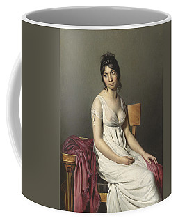 Portrait Of A Young Woman In White Coffee Mug