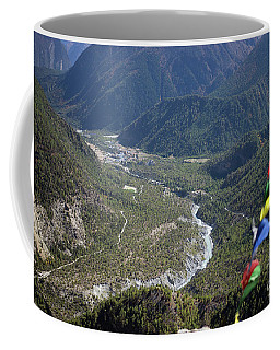 Prayer Flags In The Himalaya Mountains, Annapurna Region, Nepal Coffee Mug