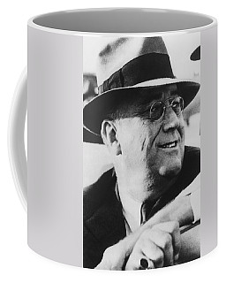 Coffee Mug featuring the photograph President Franklin Roosevelt by War Is Hell Store