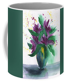 Coffee Mug featuring the painting Purple Flowers Abstract by Frank Bright