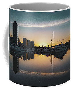 Coffee Mug featuring the photograph Quayside Marina At Sunrise by Andy Konieczny
