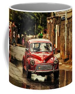 Red Retromobile. Morris Minor Coffee Mug