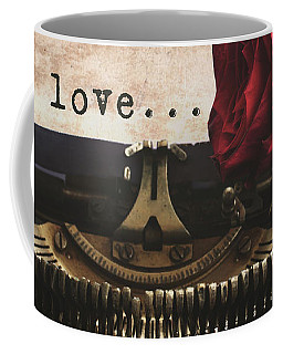 Red Rose On Typewriter Coffee Mug by Anastasy Yarmolovich